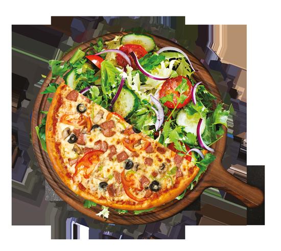 Formule du midi demi pizza et salade, Restaurant pizzeria Le Petit M à Aigues-Mortes